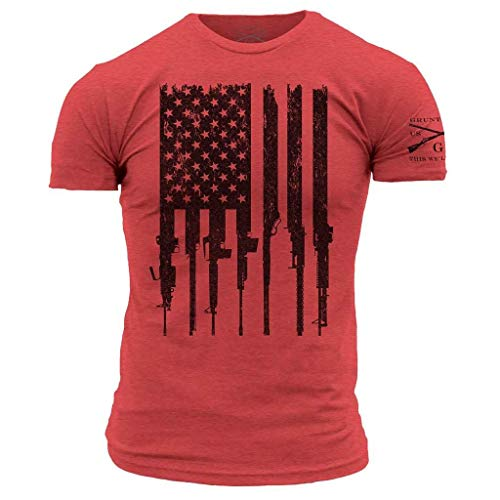 Grunt Style Rifle Flag - Men's T-Shirt (Red, XX-Large)