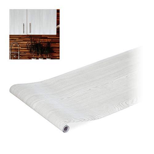 Relaxdays Klebefolie, für DIYs, Renovierungen, Möbel & Küche, Dekofolie selbstklebend, PVC, 45x200 cm, Holzoptik weiß, 1
