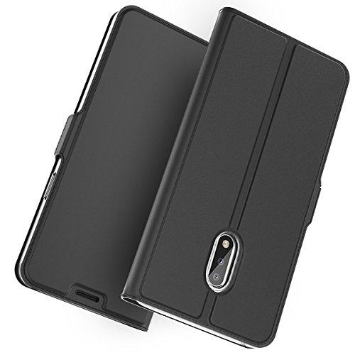 KALLOWLY Cover Compatibile Nokia 5.1 Plus,Ultrasottile Custodia/Flip/Cover/Supporto/in Pelle Sottile di Prima qualità per Nokia 5.1 Plus (Black)