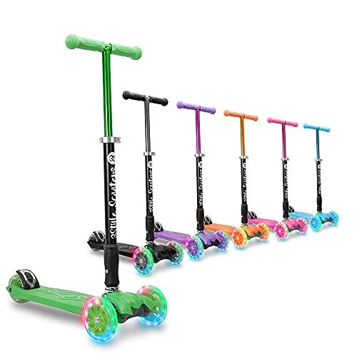 3StyleScooters® RGS-2 Patinete Scooter Tres Ruedas para Niños Niños de 5 Años o Más con Luces LED en Las Ruedas, Diseño Plegable, Manillar Ajustable, Peso Ligero (Verde)