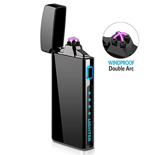 Accendino Elettrico, Accendino USB Ricaricabile Accendino Antivento Accendino al Plasma con Indicatore della Batteria per Sigaretta, Cucina, Barbecue, Campeggio, Candela