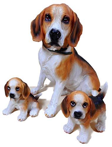 N / A 3er Set Beagle Familie Mutter mit 2 Babys bis 17 x 15 cm Hund Welpe Tier Figur Deko 2489 A