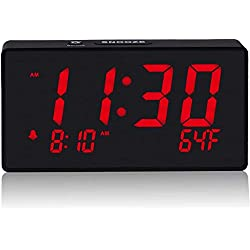 BOCTOP Compact Electronic Digital Alarm Clock with USB Port for Charging, 6 Red, Adjustable Brightness Dimmer, temperature display, Adjustable Alarm Volume, 12/24Hr, Snooze, Bedroom Desk Alarm Clock.