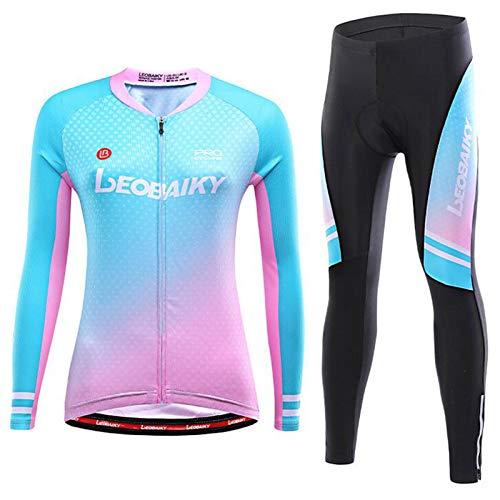 Winter Thermal Fahrrad Tragen, Damen Bergab Jersey, Radfahren Jersey Einstellen Lange Ärmel, mit 3 Elastisch Rückseite Taschen, 3D Gepolstert Hose, Reflektierender Streifen ( Color : 1 , Size : B(M) )