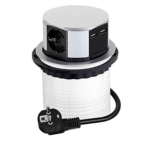 DesignLight TETRABOX versenkbare 3-Fach Schuko-Steckdose mit USB-Port/Steckdosenleiste/Schuko-Verteiler