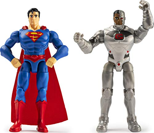 DC Comics, 4-Inch SUPERMAN and CYBORG Action Figure 2-Pack with 6 Mystery Accessories, Adventure 1