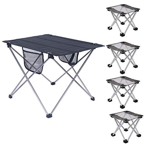 Mesa de Camping Ligera, Mesa de Picnic Portátil, Mesa Plegable de Aluminio para Barbacoa En La Playa