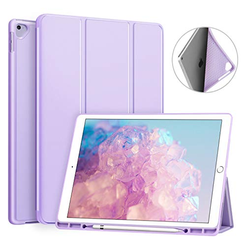 Ztotop Case for iPad Pro 12.9 Inch 2017/2015 with Pencil Holder- Lightweight Soft TPU Back Cover and Trifold Stand with Auto Sleep/Wake,Protective for iPad Pro 12.9 Inch(1st & 2nd Gen),Purple