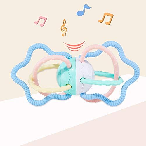 Alapet Soft Rubber Hand Ball Q Elástico Soft Boiled Desinfectado Descanso Asegurado Mordida 0-1-3 años Mano Rattle Toy Dientes de bebé Good Companion Fun Hand Agarrar la Ball Hand-eye Coordinación Sen