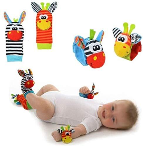 Mackur Baby peluche carino Donkey Monkey panda Cartoon Dog Garden Bug Plush rattle sonaglio strap calze con anello Bell 4pcs