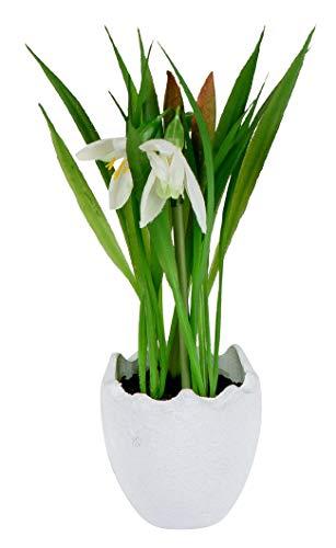 dekojohnson Künstliches Schneeglöckchen im Ei-Topf Deko-Pflanze natürliche lebensechte Kunst-Blumen grün Weiss 25cm Osterdeko