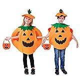 Lifreer 2 piezas Halloween calabaza disfraces vestido de fiesta para niños con bolsa de caramelo de calabaza de Halloween (2 piezas)