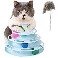 Freedom 猫 おもちゃ ボール 回転 円盤 猫じゃらし付き ぐるぐるボール 動く 遊ぶ盤 タワ 四段 運動不足 ストレス解消 ネコ おもちゃ 留守番対応 猫のおもちゃ ペット用品