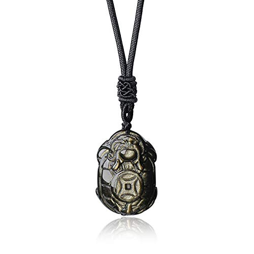 coai Geschenkideen Unisex Schildkröte Anhänger aus Obsidian Gold Amulett Halskette Verstellbare Lange Kette