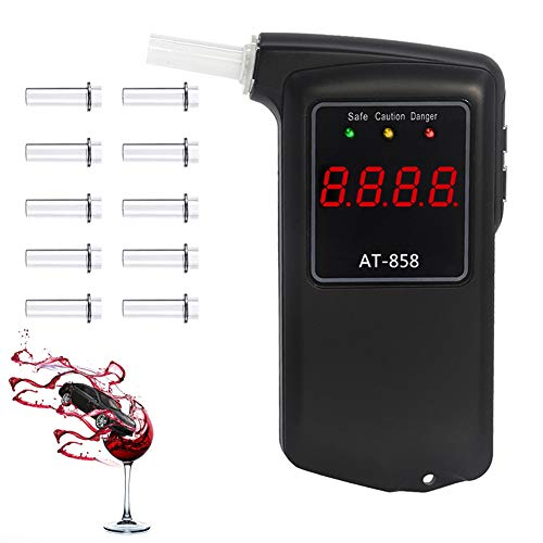 Breathalyzer, Professional-Grade Accuracy Breathalyzer to Test Alcohol with 10 Mouthpieces, Portable Breathalyzer Alcohol Tester for Personal & Professional with LCD Display for Drivers Or Home Use