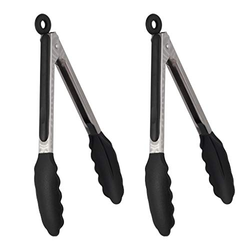 ZZLOVE Kitchen Food Tongs 2pcs Stainless Steel High-end Cooking Tongs with Silicone Tips BPA-free Non-Stick Barbecue Cooking Tongs Non-Slip Cooking BBQ Tongs with Locking Clip 10 Inches