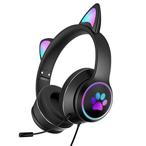 Auriculares con luz LED con micrófono plegable con orejas de gato con luces LED RGB, USB de 3,5 mm con cable sobre la oreja para PC, teléfono móvil