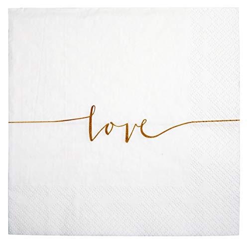 khevga Servietten aus Papier in weiß Love Hochzeits-Servietten Hochzeits-Dekoration (40)