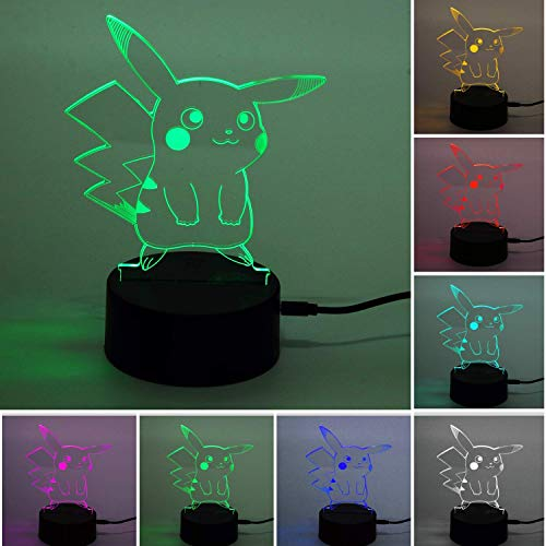ZHAOYANG Pokemon Pikachu 3D Illusion LED Nachtlicht, 7 Farben Allmählich wechselnde Touch Switch USB Tischlampe Wohnaccessoires
