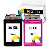 TONERPACK HP 301XL, Cartucho de Tinta para HP 301 XL, Alta Capacidad, Compatible con impresoras de inyección HP DeskJet 1050, 2540, 3050;OfficeJet 2620,4630;Envy 4500,5530 (1 Negro + 1 Tricolor)