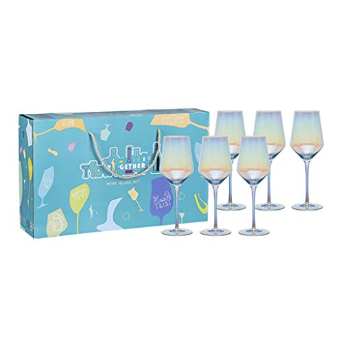 Copas de vino Juego Gris Humo Copa De Vino De Cristal 430ml × 6, 4 Colores Disponibles, Adecuados para Reuniones Familiares (Color : Color, Size : 8.4 * 24cm*6)