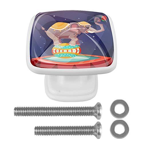 Con tornillos para cocina, aparador, armario, baño, pomos de armario para armarios de cocina, pomos de armario de cristal transparente tiradores de 1.18 pulgadas de diámetro, elefante circo