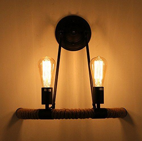 Pays Style Creative Lampe Murale Personnalité Tissé Chanvre Corde Mur Lampe Vintage Rétro Lampe Salon Chambre Restaurant Lampe Murale, sans ampoule