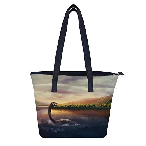 Loch Ness Monster Damen verstellbare Designer-Schulter-Handtaschen Damen Laptop Leder Tragetasche