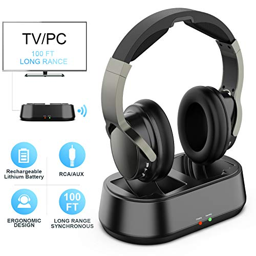 Wireless TV Headphones with Transmitter Dock, Over-Ear Cordless Headset with RCA / 3.5MM Input, for Watching Home Television Game 100 Feet Play Range