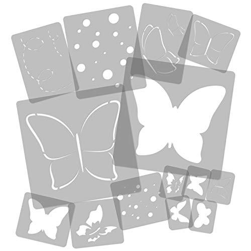 14 Stück wiederverwendbare Kunststoff-Schablonen // Schmetterling - Wiese // 34cm bis 8cm // Kinderzimmer-Dekorarion // Kinderzimmer-Vorlage