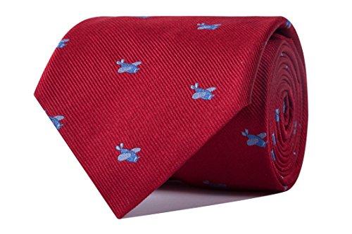 Sologemelos - Cravate Avion - Rouge 100% soie naturelle - Hommes - Taille Unique - Confection artesanale Made In Italy