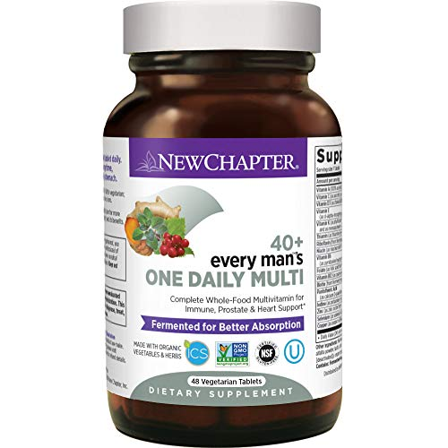 New Chapter Mens Multivitamin, Every Mans One Daily 40+ Fermented with Probiotics + Saw Palmetto + B Vitamins + Vitamin D3 + Organic Non-GMO Ingredients - 48 ct