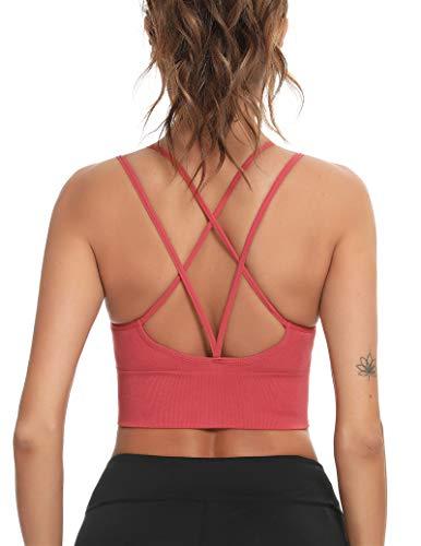 Enjoyoself Damen Sport-BH Yoga BH Bügellos Push Up Sports Bra mit Kreuz Rücken Chic Sport Bustier für Leicht Sport oder Alltag,Rot,XL