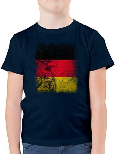 Fußball-Europameisterschaft 2020 Kinder - Deutschland WM Adler Flagge - 140 (9/11 Jahre) - Dunkelblau - T-Shirt - F130K - Kinder Tshirts und T-Shirt für Jungen
