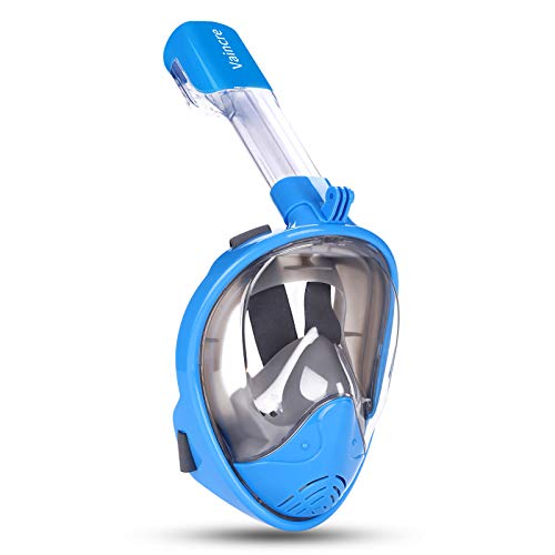 Vaincre 180° Full Face Snorkel Mask Panoramic View Anti-Fog,Anti-Leak Snorkeling Design with Adjustable Head Straps-See Larger Viewing Area Than Traditional Masks for Adults Youth(Blue, S/M)