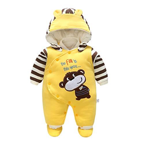 PROTAURI Baby Strampler, Kleinkind Jungen Mädchen Schneeanzug Kapuze Abnehmbarer Schneeanzug Overall Baumwolle Herbst Winter Outfits für 0-12 Monate