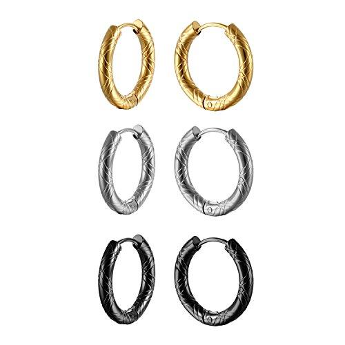 Oidea [3 Coppie] Orecchini Donna Uomo Orecchini Cerchi 18,20mm Acciaio Inossidabile Argento Nero Oro Regalo Perfetto