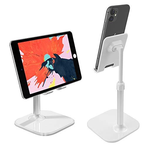ICHECKEY Soportes para móvil y Tablet,Soporte para teléfono Soporte para Escritorio Ángulo Ajustable Compatible para iPhone 11 Pro MAX, Tableta, teléfono Inteligente Android, 4-10 Pulgadas (White)