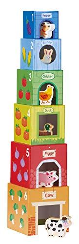 Lelin Toys - Cubes empilables - 6 Amis dans la Ferme Multicolore