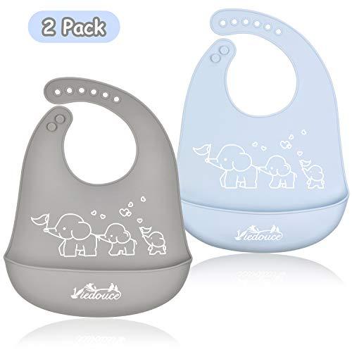 Viedouce Baby Lätzchen,Wasserdicht Silikon Babylätzchen mit 6 verstellbaren Tasten,Baby Dribble Lätzchen für Jungen Mädchen,Super weich & leicht abwischen (2er Pack)