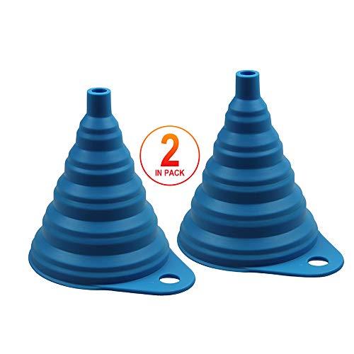 TRITINA Hogar y Cocina Embudo Plegable, Estilo Plegable de Silicona, sin BPA, Resistente al Calor, para lavavajillas(Azul)