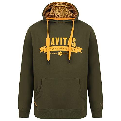 Navitas Kapuzenhoody Outfitters Hoodie für Herren Grün - Pullover mit Handyfach für Karpfenangler, Größe:M