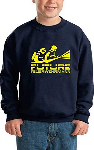 Feuer1 Sweat-shirt pour enfant Bleu marine/jaune fluo