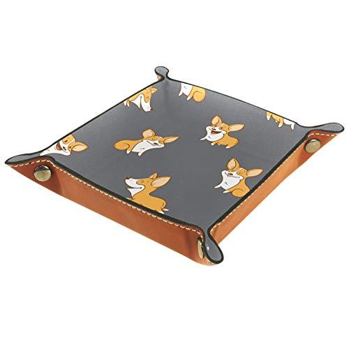 ZORE_FINE5 Bandejas cuadradas de cuero para joyas, juegos de dados con ruedas, bandeja de llave para guardar caramelos y monedas plegables de 4.5 pulgadas/4.5 en perros Corgi