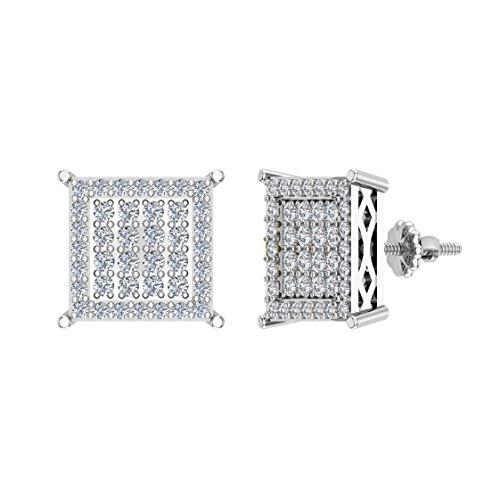 Pendientes de diamante cuadrado de 0,40 ctw en oro blanco de 10 quilates