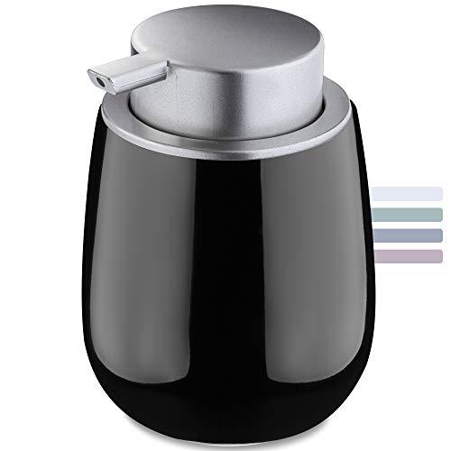 KADAX Seifenspender aus Keramik, Spender mit Pumpe aus Kunststoff, Lotions-Pender für Bad, Küche, 12,5 x 9,5 cm, Flüssigseifen-Spender, Spülmittel-Spender, glänzend, rund (schwarz)