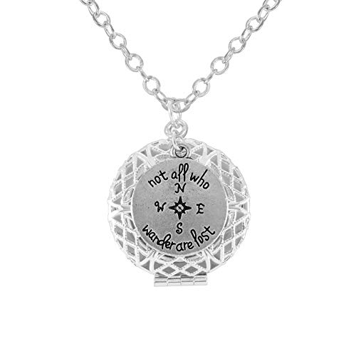 Not All Who Wander Are Lost LOTR Silver Tone Aromatherapy Necklace Essential Oil Diffuser Locket