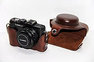 HQF® New Leather Camera Bag Cover Pouch, Protective Camera Case Bag for Panasonic Lumix Lx7(Dark Brown)