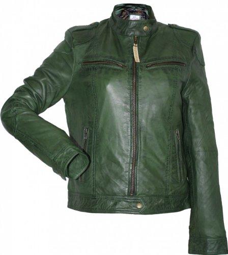 German Wear,Damen Lederjacke Trend Fashion Echtleder Jacke aus Lamm Nappa Leder grün, Größe:48