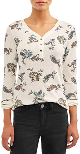 Time and Tru Women s Long Sleeve Thermal Henley Paisley Print Small product image